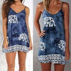 Women Elephant Print Cami Dress Floral Ethnic Casual Dresses Boho Shirt Tops EW