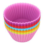 NEW 8 Multi-color Silicone Cake muffin Cupcake Mold Round Shape Baking Mould