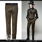 goth british steampunk owl train conductor gentry striped dress pants K271