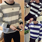 CHIC New Autumn Winter Mens Long Sleeve T-Shirt O Neck Striped T Shirt for Men