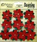 "Petaloo RED 1.25"" Paper POINSETTIAS 10-pc Flowers Mixed Media Cards 1143-002"