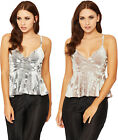 Womens Strappy Velour Party Top Ladies Cropped Peplum Sleeveless Velvet 8-14