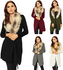 Womens Faux Fur Open Cardigan Top Ladies Long Sleeve Knitted Belted Stretch 8-14