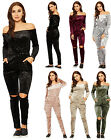 Womens Crushed Velour Jumpsuit Ladies Bardot Off Shoulder Slash Knee Stretch