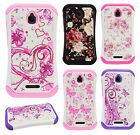 For Alcatel Ideal HYBRID IMPACT Hard Dazzling Diamond Case Cover +Screen Guard