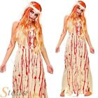 Ladies Bloody Bride Costume Prom Queen Carrie 80s Halloween Fancy Dress Outfit