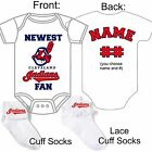 PERSONALIZED CLEVELAND INDIANS BASEBALL FAN BABY GERBER ONESIE SOCKS CUSTOM MADE