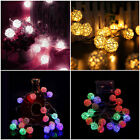 Colors 20 White Rattan Ball LED Light String Fairy Lamp Wedding Party Xmas Decor