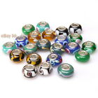 Wholesale Round Colorful Lampwork Spacer Beads Fit European Bracelets 15mm