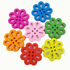 20/50Pcs Solid Mixed Hollow Flower Shape Wooden 4-holes Buttons Accessory