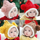 Baby Girl Boy Toddler Winter Warm Knitted Beanie Hat Caps Earmuffs Ball 5color