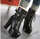 Womens punk Super High Platform Motorcycle chunky Heels Lace Up Cool Ankle Boots