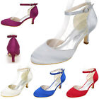 Satin Elegant Wedding Party Dress Shoes Ankle Strap Mid Heel Sandals Women Pumps
