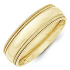 10K Yellow Gold 7mm Double Milgrain Wedding Band Comfort Fit Ring Sizes 4 - 14