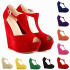 New Womens High Heels Platform Pump Open Toe Wedges Exclusive Shoes US Size 4-11