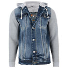 Mens Classic Hooded Denim Buttoned Jacket Fleece Sleeves & Hood Big 2XL-8XL