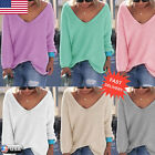 Women Autumn Long Sleeve Knitted Pullover Loose Sweater Jumper Tops Knitwear New