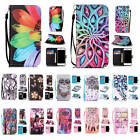 For Various Phone With Free Strap Case Card Wallet Colored Pattern Leather Cover
