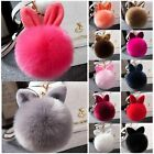 Rabbit Fur Ball PomPom Cell Phone Car Keychain Pendant Handbag Cute Key Ring LAX