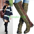 Womens Over Knee High Boots Flats Strappy Suede Leather Military Long Boots New
