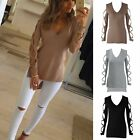 Fashion Womens Summer Long Sleeve Shirt Casual T-Shirt Loose Cotton Tops Blouses