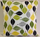 RETRO SINGLE CUSHION COVERS GREEN BLACK GREY WHITE MUSTARD YELLOW  LEAVES