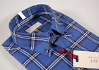 Camicia in Flanella Pancaldi Azzurra a quadri collo Button Down con Taschino