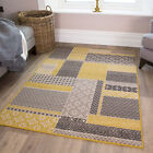 Ochre Mustard Yellow Gold Patchwork Squares Pattern Living Room Bedroom Rug