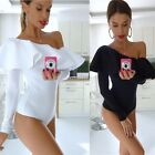 Women Lady Bardot Frill Off Shoulder Bodysuit Jumpsuit Stretch Party N4U8
