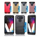 For LG V20 Slim Brushed Hard Case Cover w/ ID Card Slot & Glass Screen Protector