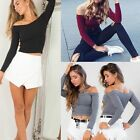 Fashion New Women Slim Off Shoulder Shirt Crop Tops Long Sleeve Blouse Sweater #