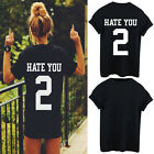 "Women Funny ""Hate You 2"" T-shirt Summer Print Punk Rock Fashion Top Blouse S-3XL"