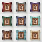 "Christmas Tartan Check & Stag Cushion Covers 18"" x 18"" Decorative Pillow Cover"