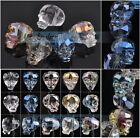 5~10pcs 14mm Skull Head Crystal Glass Faceted Charms Loose Spacer Beads Bulk