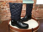 Bare Traps Dolly Navy Blue Quilted Waterproof Rainboots Boots NEW
