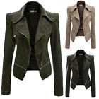 Womens Slim PU Leather Jacket Long Sleeve Biker Motorcycle Coat Girls Outerwear