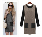 Oversized Woolen Winter Dress Patchwork Long Sleeve 5XL Plus Size For Fat Women