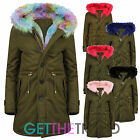 Womens Hot Pink Rainbow Fur Trim Parka Jacket Ladies Fishtail Long Hooded Coat
