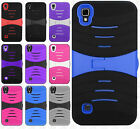 For LG X Style L56VL L53BG Hard Gel Rubber KICKSTAND Case Phone Cover Accessory