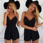 Sexy Women's V Neck Bodycon Jumpsuit Party Playsuit Clubwear Romper Shorts Black