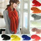 CH Women Tassels Long Wool Scarf Pashmina Stole Winter Solid Color Shawl Wrap