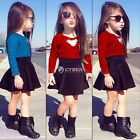 2015 Baby Kids Girls 2-Piece Outfits Set Lace Dress Tops Shirt+Skirt 2-11Y DZ88