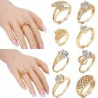 Fashion Jewelry Gold Filled Crystal Ring Wedding Womens Engagement White Topaz