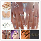 Women Bohemian Vintage Silver Stack Rings Above Knuckle Rings Set