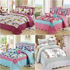 100%Cotton Floral Bedspreads Set Quilted Coverlets Queen Size Throw Pillowcases