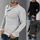 US Men's Stylish Top Slim Fit Fashion T-shirts Polo Shirt Long Sleeve Casual Tee