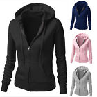 New Winter Women Warm Hooded Zipper Placket Long Slim Casual Jacket Coat Outwear