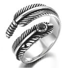 Stainless Steel Men's Ring , Color Black Silver, Vintage, Feather, Crystal KR666