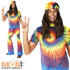Multi Coloured Hippy Top & Trousers Mens Fancy Dress 1960s Adults Costume Outfit