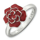 Rose Flower Ring Enameled .925 Sterling Silver Size 5-10 Stackable Expressions